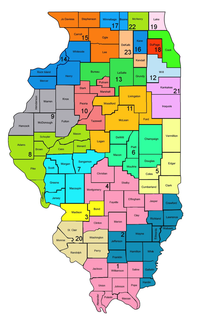 Illinois Judges: Map of the 24 Illinois Judicial Circuits
