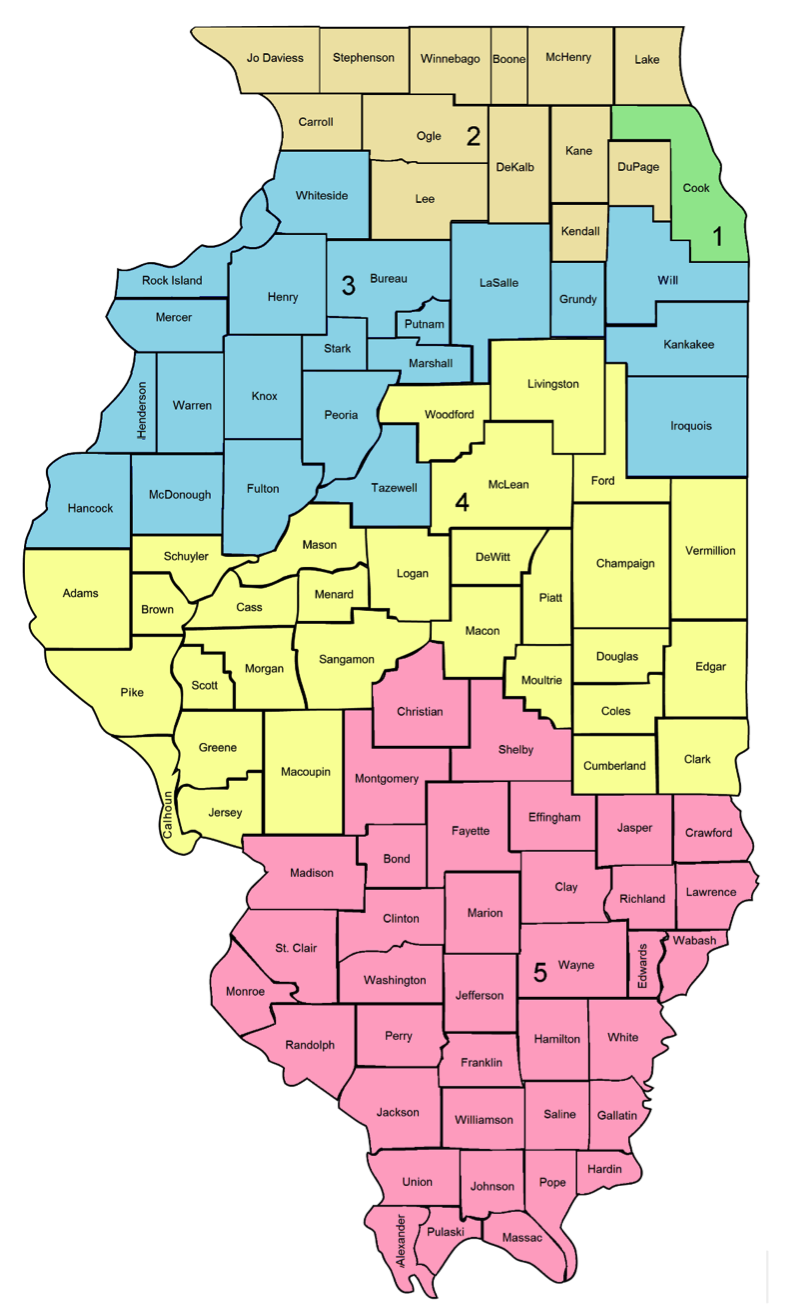 Illinois Judges Map Of The Five Illinois Appellate Judicial Districts - Map in illinois